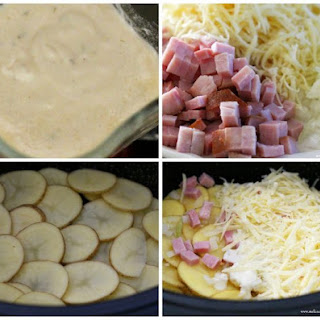 Slow Cooked Cheesy Scalloped Potatoes With Ham.