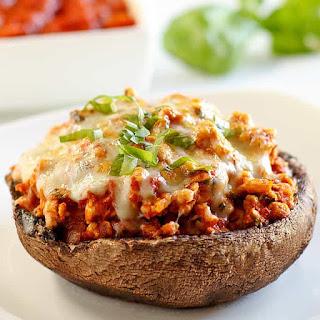 Turkey Stuffed Portobello Mushrooms with Marinara & Cheese (Low Carb, Gluten-Free) Recipe