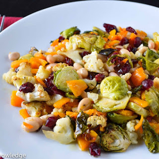 Roasted Brussel Sprouts, Butternut Squash, and Cauliflower with Horseradish Dressing.