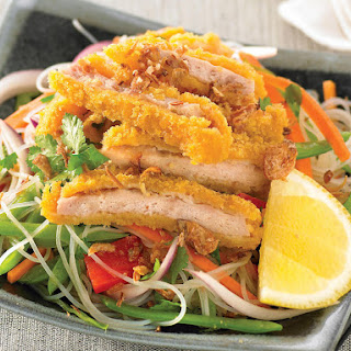 Asian Noodle Salad with Crispy Chicken.