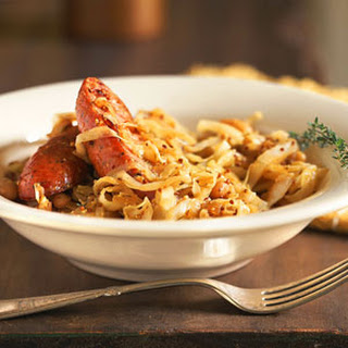 Mustard-Spiced Cabbage and Cannellini Beans with Sausage
