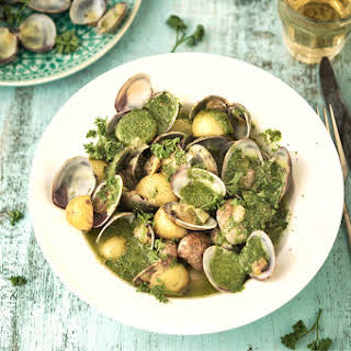 Clams, Potatoes And Green Sauce.