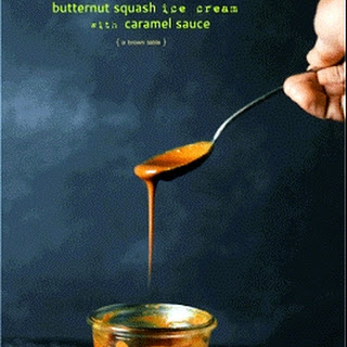 Butternut Squash Ice Cream With Caramel Sauce