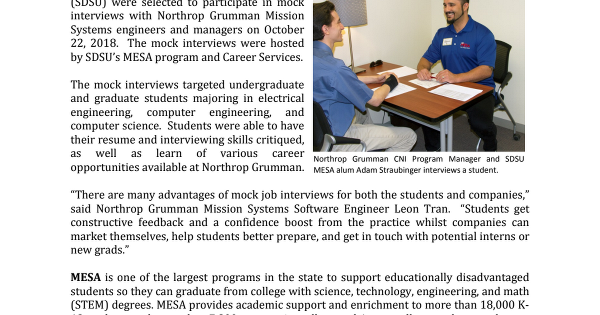 News Release - 2018 Northrop Grumman Mock Interviews pdf - Google Drive