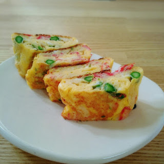 Colorful Omelette with Asparagus and Crab Sticks