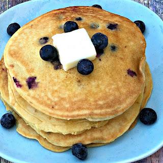 Paleo Gluten-Free Grain-Free Blueberry Pancakes.
