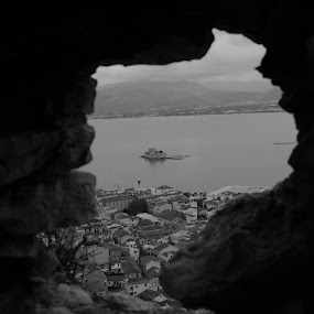 Looking at the guard's islet by Pantelis Orfanos - Landscapes Travel ( black and white, guards islet, castle, nafplio, aperture, b and w, landscape, b&w, monotone, mono-tone )