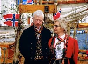 Photo: Ingvar and Anlaug in their Aust Agder bunads at the Wooden Boat Festival in Risor.