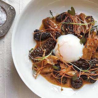 Morels in Black Bean Sauce with Fried Enoki Mushrooms