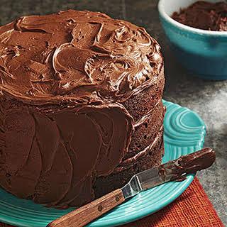 Three-Tiered Fudgy Chocolate Cake.