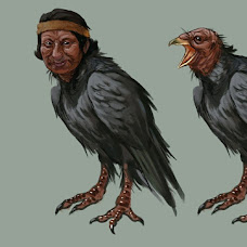 Dibujo del brujo convirtiéndose en pájaro Tue tue