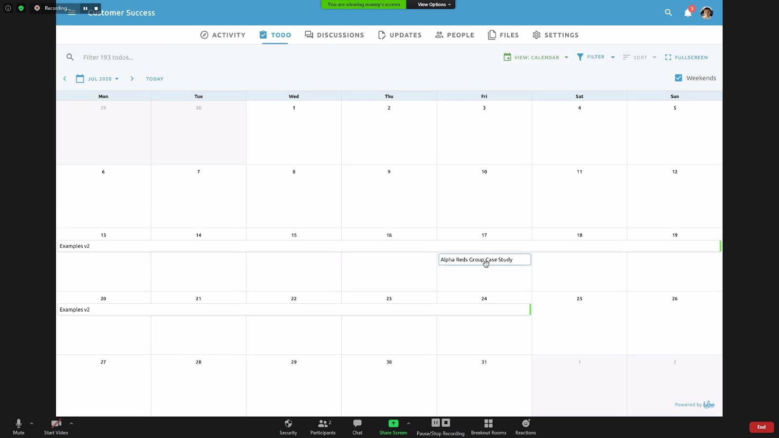 Bloo calendar view