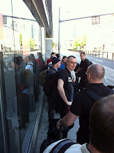 Photo: BSDCan attendees waiting for the bus #97 to the airport.