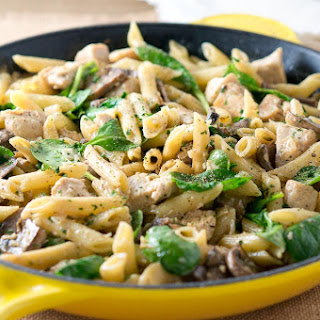 Chicken Penne with Creamy Mushroom White Wine Sauce.