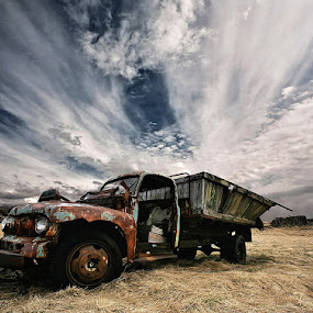 Rusty Truck by Þorsteinn H. Ingibergsson - Transportation Automobiles ( clouds, iceland, sky, truck, structor, landscape, abondened )