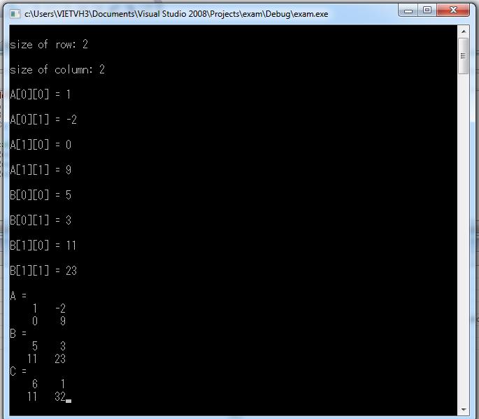 Cộng 2 ma trận ngôn ngữ lập trình C