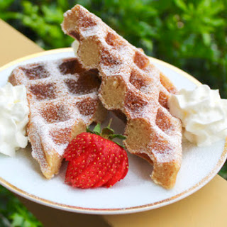 Baileys Waffles with Whipped Cream.