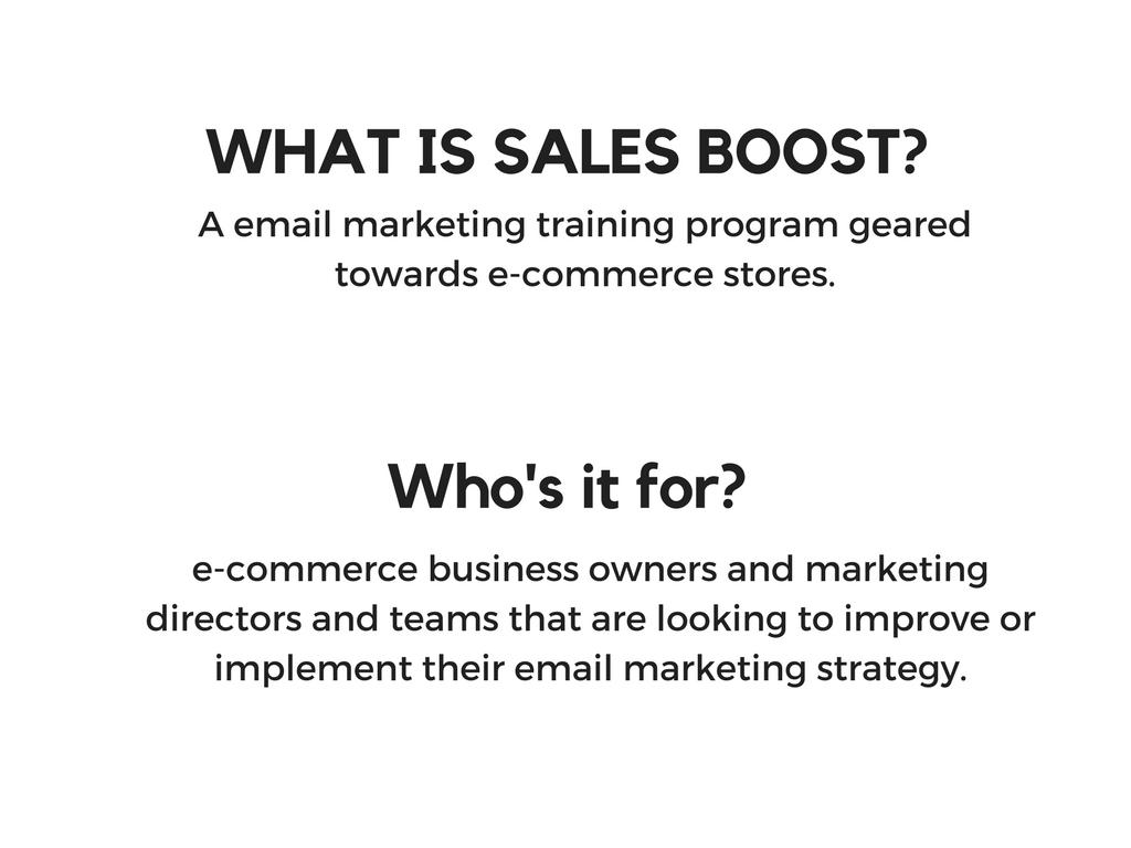 Sales Boost details