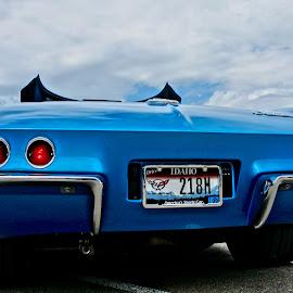 Classic Corvette by Barbara Brock - Transportation Automobiles ( corvette, classic car, blue, sports car, vet automobile )
