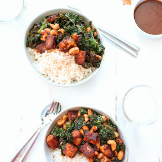Crispy Tofu with Thai Chili Paste, Cashews and Kale