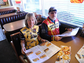Photo: Thea and Doug have breakfast at Denny's