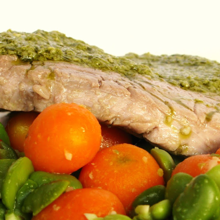Steak with Sautéed Carrots and Broad Beans