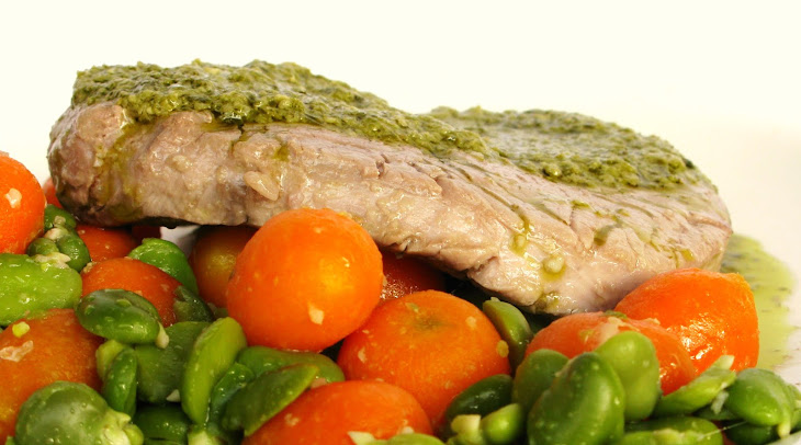 Steak with SautéEd Carrots and Broad Beans Recipe