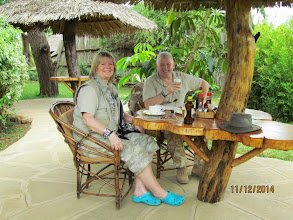 Photo: New tents at Kibo Safari Camp - Amboseli.   Lunch outside when we arrived - carrot and ginger soup, or consomme - and obviously ice codl tusker!
