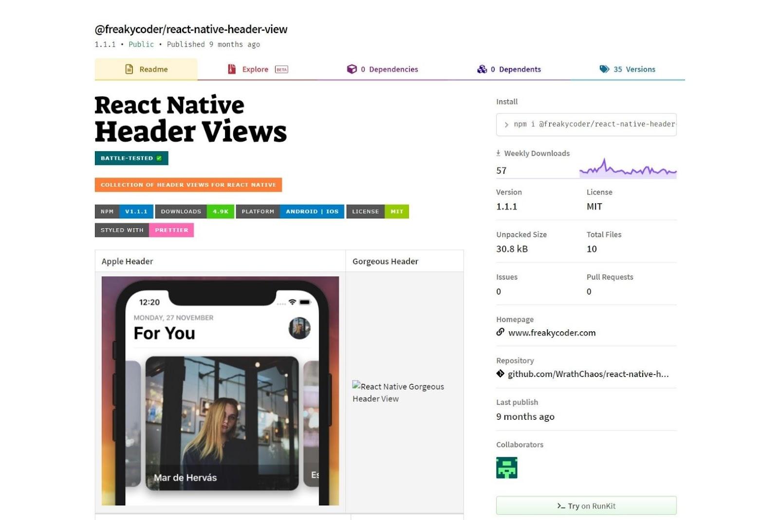 React Native Header View React Native UI Libraries