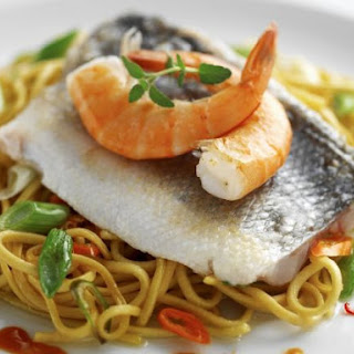 Sea Bass Fillets with Noodles.