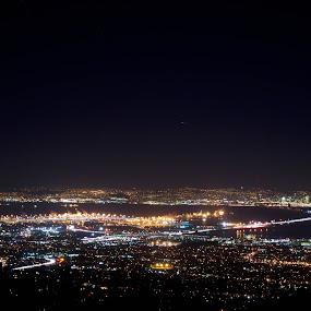 Bay area by Mehdi Laraqui - Landscapes Starscapes ( reflection, night, san francisco., landscape, light, nightscapes, city, lights )