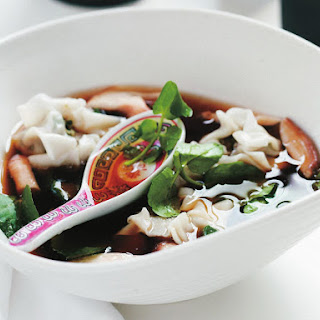 Wonton Soup with Mushrooms and Watercress.