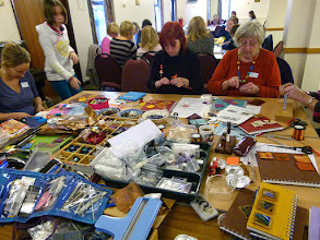 Photo: Twinchies' at a Wyaston Workshop Day - members and visitors engrossed in a mixed-media workshop