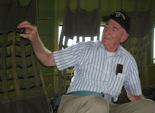 Photo: Veteran Paratrooper Al Frank, who served in The South Pacific in the Philippines with 11th Air Borne Division in 1944. This time, will land with the C-47.