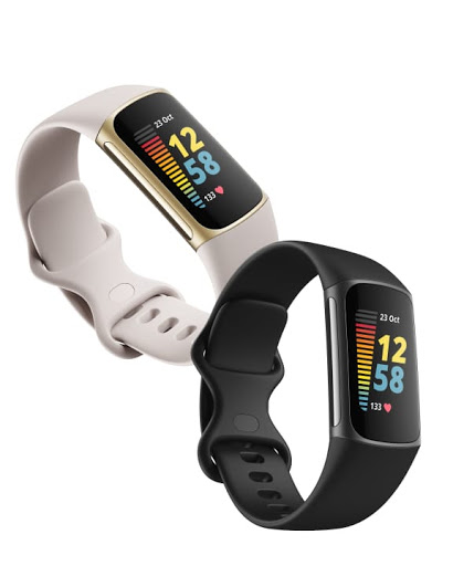 Fitbit Charge 5 in both light gray and black