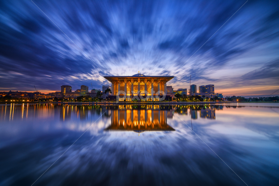 Still Morning by Munzer Shamsul - Landscapes Waterscapes ( reflection, clouds. building, mosque, putrajaya, lake, malaysia, sunrise )
