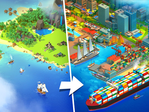 Sea Port: Cargo Ship & Town Build Tycoon Strategy apklade screenshots 1
