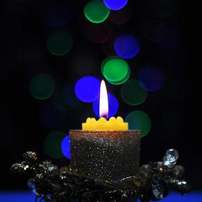 CANDLE by Angelito Cortez - Public Holidays Christmas ( decor, candle, pwcholidays, blue, light )