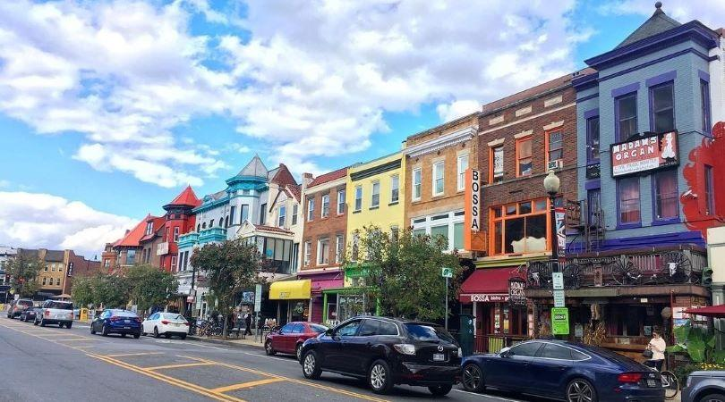Colorful buildings line the street in Adams Morgan