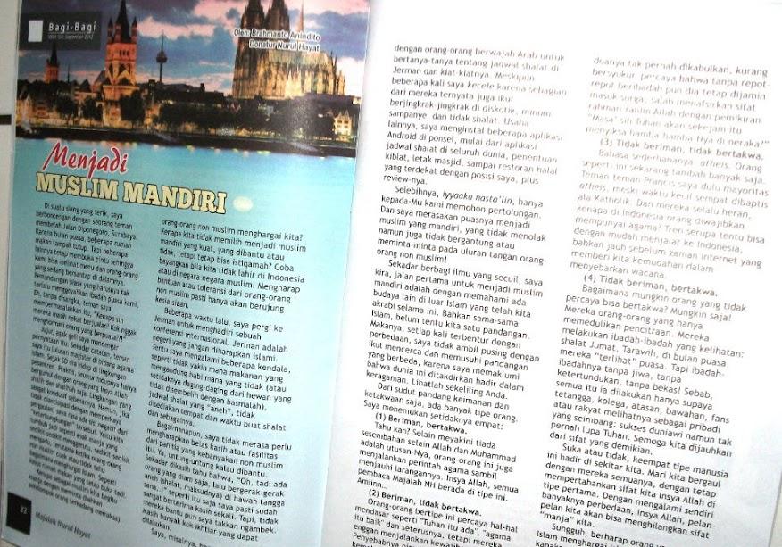Artikel Menjadi Muslim Mandiri, Majalah Nurul Hayat edisi 104 (September 2012), Rubrik Bagi-Bagi, halaman 22-23