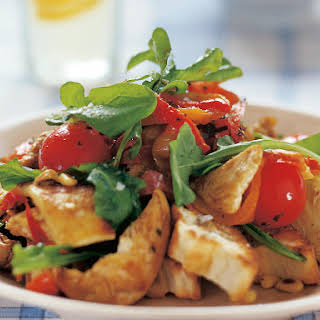 Mediterranean Salad with Haloumi and Flat Bread Croutons.