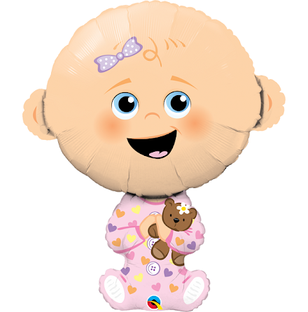 Folieballong - Baby, rosa kläder
