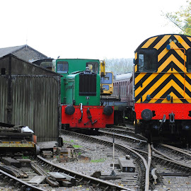 Diesel Shunters by DJ Cockburn - Transportation Trains ( kingswood, shunting engine, avon valley railway, rails, vintage, railroad, corrugated iron, barclay 0-4-0dm, bitton, diesel locomotive, bristol and bath railway path, 08 no 08202, shed, 446, heritage railway, siding, br class, train, points, antique, south gloucestershire, british rail,  )