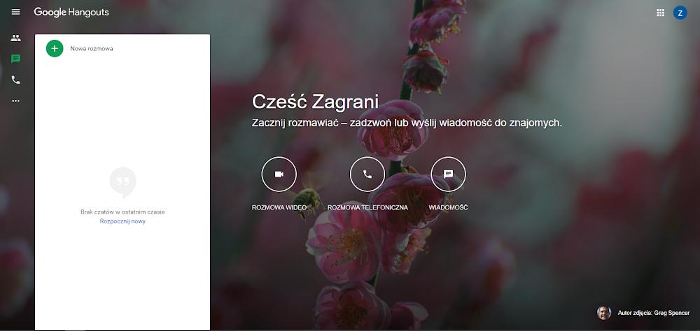 Google Hangouts ekran początkowy