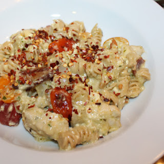 Creamy Cheesy Caprese Chicken Bacon Pasta Bake