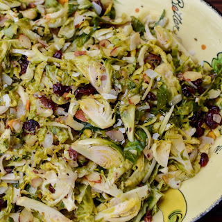 Shaved Brussels Sprouts with Pistachios, Cranberries, and Almonds Recipe