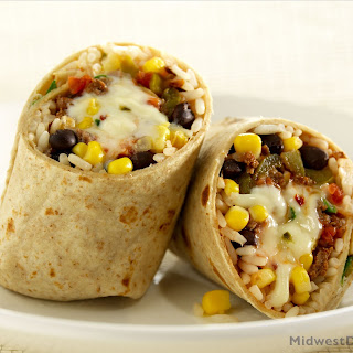 Beef Burrito with Pepper Jack Cheese and Black Beans.