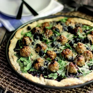 Blueberry Balsamic Chicken Meatball Pizza