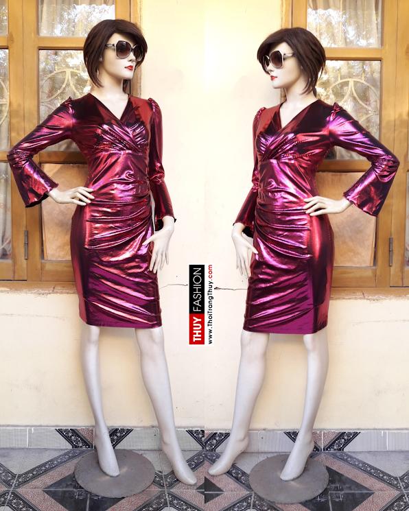 Váy dự tiệc cổ chữ V xếp ly eo vải ánh kim V377 thời trang thủy