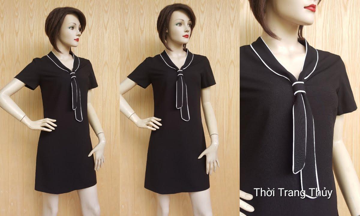 Váy suông công sở cổ cà vạt nữ tính V444 Thời Trang Thủy